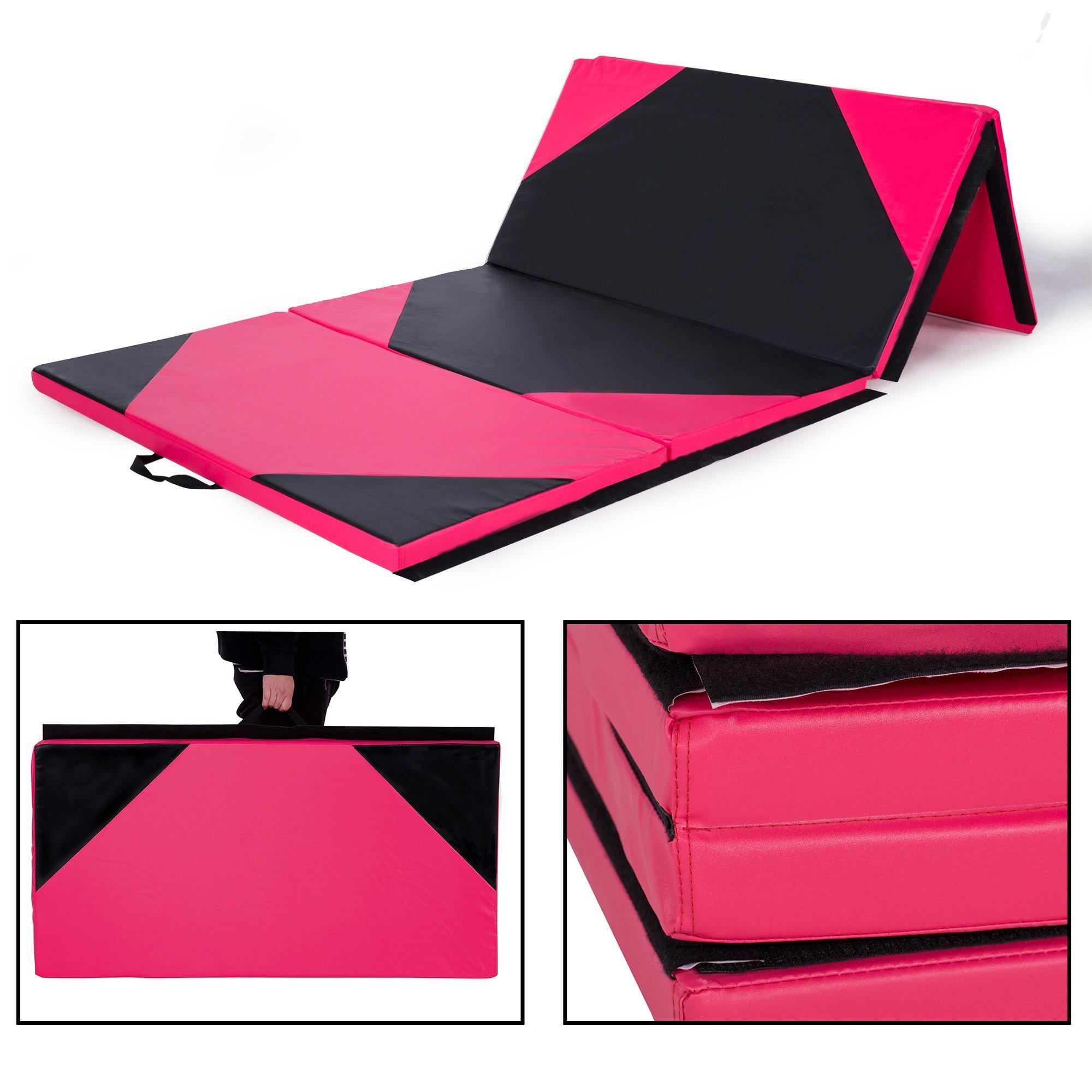 Sportmad 4'x10'x2 Thick Folding Panel Gymnastics Tumbling Mat Gym, Fitness, Exercise (Black/Pink)
