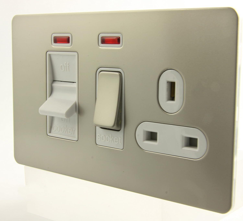 GET Ultimate Screwless Flatplate - 158732 - 45a Pearl Nickel Cooker Control + Socket + Neon