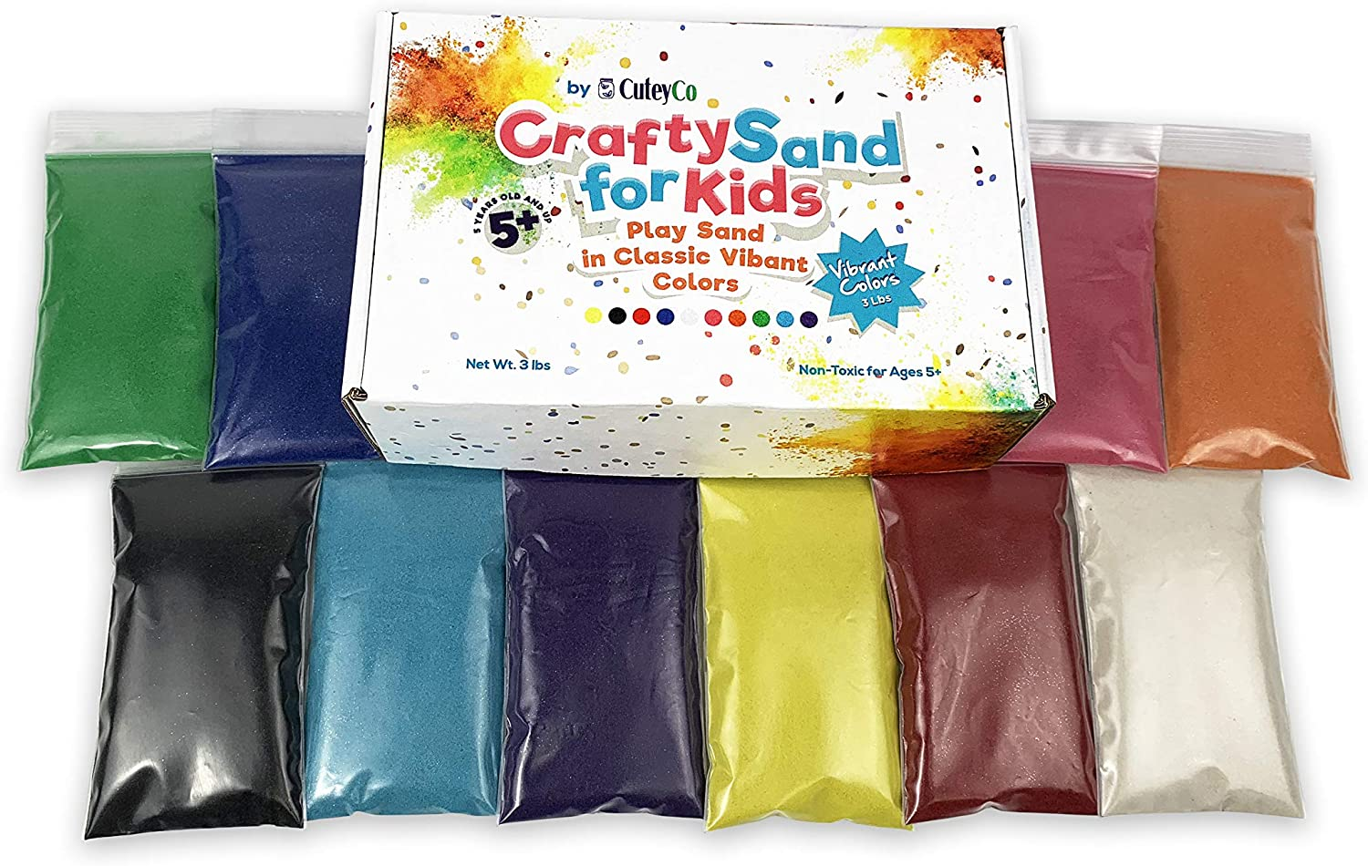 3 lbs of Vibrant Craft Sand and Play CuteyCo Crafty Sand for Kids 10 Colors