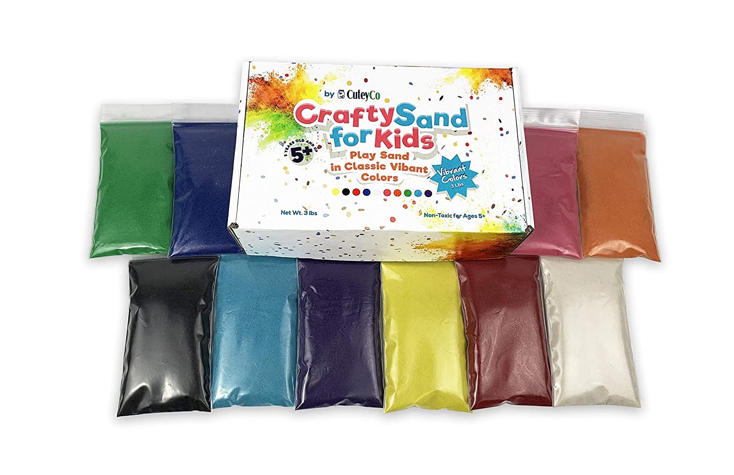 3 lbs of Vibrant Craft Sand /& Play Sand 10 Colors CuteyCo Crafty Sand for Kids
