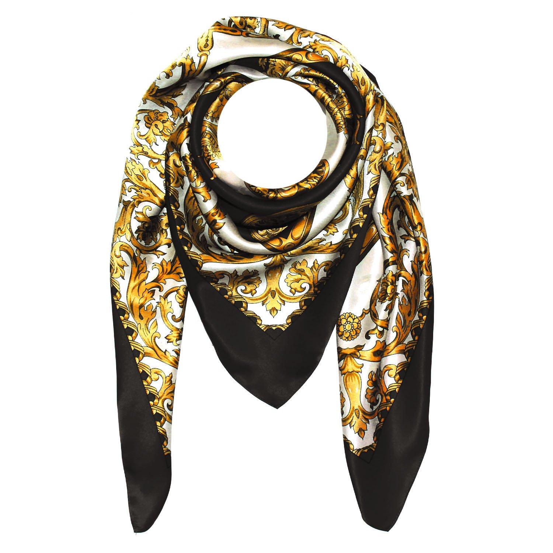 LORENZO CANA - Italian Luxury Scarf 100% Silk Satin Black Gold 40'' x 40'' - 89001