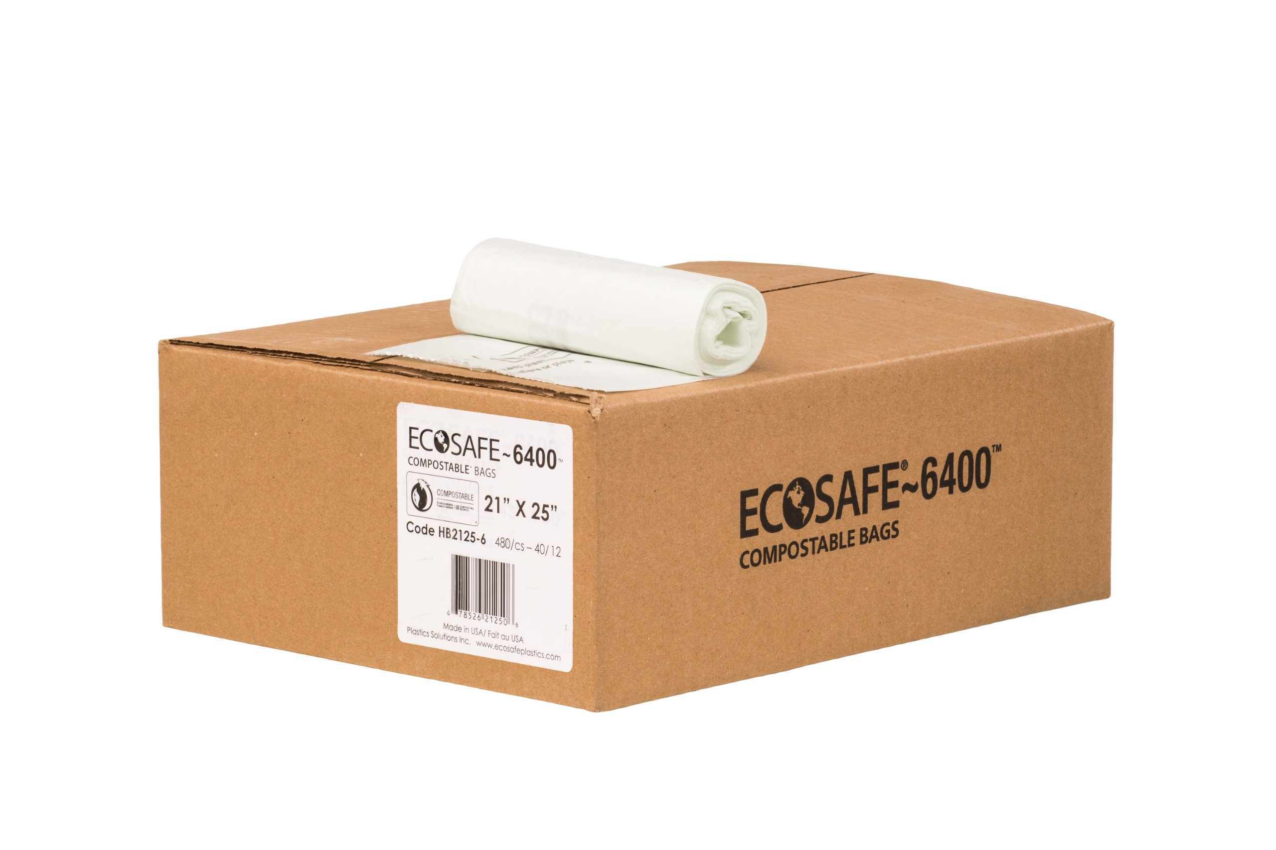 EcoSafe-6400 HB2125-6 Compostable Bag, Certified Compostable, 8-Gallon, Green (Pack of 480)