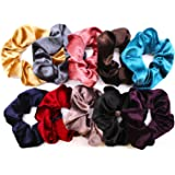 Solace Velvet Hair Scrunchies | Soft Elastic Hair Ties | 10 Pack | Variety Set of Bobbles | Hair Bands for Women In a Pack of 10 Colors
