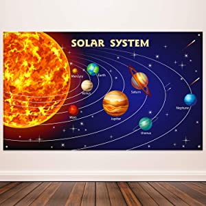 Solar System Party Decorations, Extra Large Fabric Solar System Planets Poster for Outer Space Party Educational Supplies, Solar System Banner Photo Booth Backdrop Background