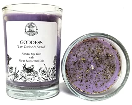 Art of the Root Goddess Affirmation Candle: 8 oz Natural Soy with Herbs &  Essential Oils for Divinity, Wisdom, Power, Admiration & Spirituality for