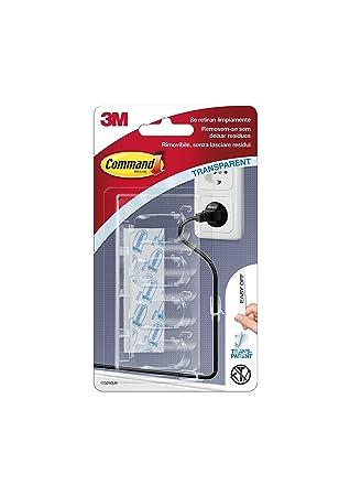Command 17301CLR - Pack de 1 x 4 ganchos sujeta cables mediano con tiras (plástico) transparentes: Amazon.es: Bricolaje y herramientas