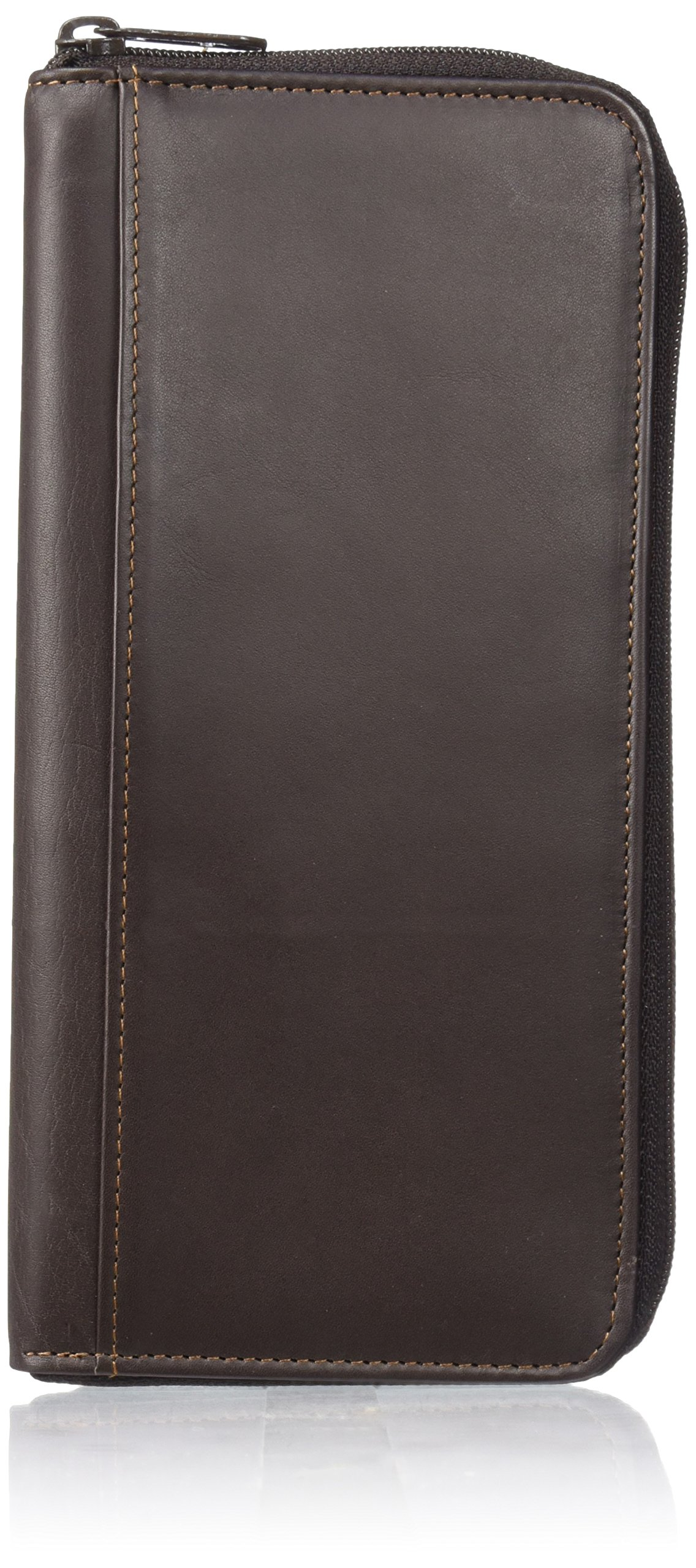 Dopp Men's Regatta Leather Zipper Passport Organizer Wallet, Brown One Size