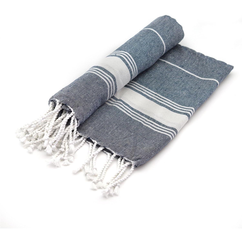 100/% Cotone da Spiaggia//Hammam Teli Peshtemal//Fouta in Stile Turco Design Tradizionale Colore Grigio//Blu Scuro Set da 2