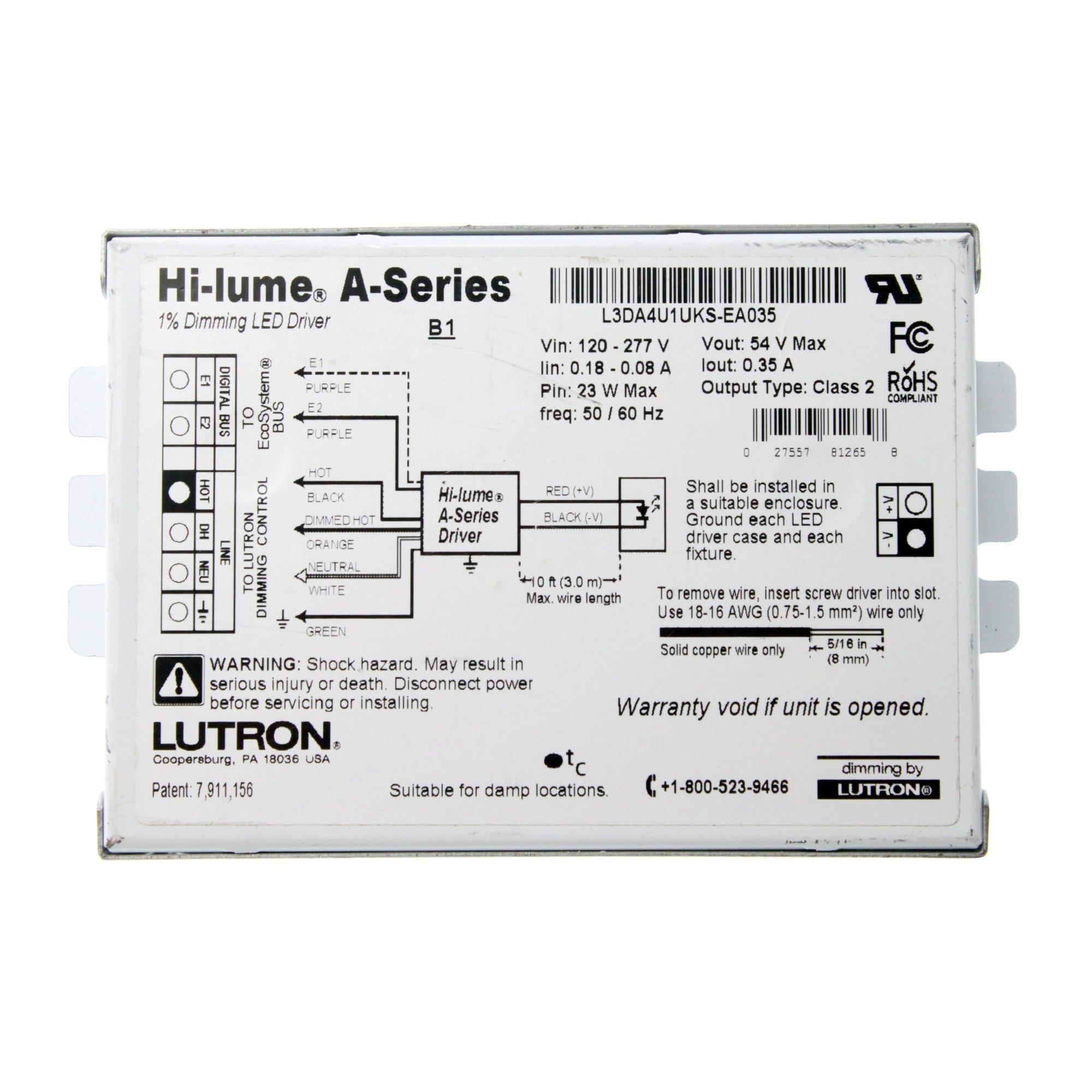 Lutron L3DA4U1UKS-EA035 Hi-Lume 1% Dimming LED Driver, 120/277V-In, 54VDC @ 23W Out