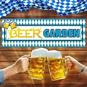 "SICOHOME Beer Garden Sign Banner,20""x 59"" Oktoberfest Sign Banner,Oktoberfest Backdrop Photo Booth for Oktoberfest Party Supplies"