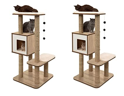 Amazon Com Vesper Cat Tree Scratching Post With Condo Oak