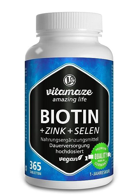 Vitamaze® Biotina 10000 mcg de dosis alta + Selenio + Zinc para crecimiento del cabello, cabello y uñas - 365 tabletas veganas para 1 año - hecho en ...