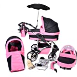 Twing, 3-in-1 Travel System with Baby Pram, Car Seat, Pushchair & Accessories (3in1 Travel System -Baby tub, Sport seat, Car seat, Black & Pink)