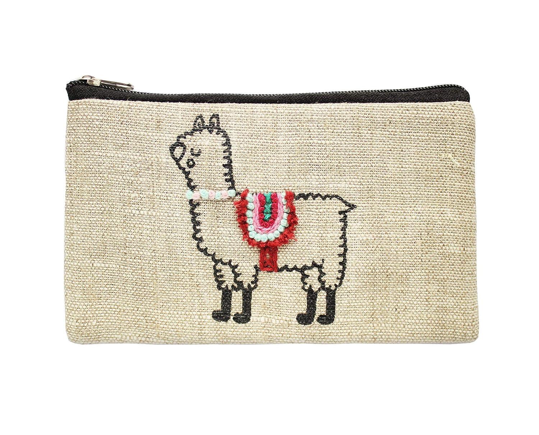 Llama and cactus cotton purse wallet pouch Llama wallet