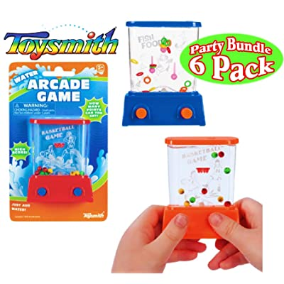 Toysmith Mini Handheld Water Arcade Games Basketball & Fish Food Party Set Bundle - 6 Pack (Assorted Colors): Toys & Games