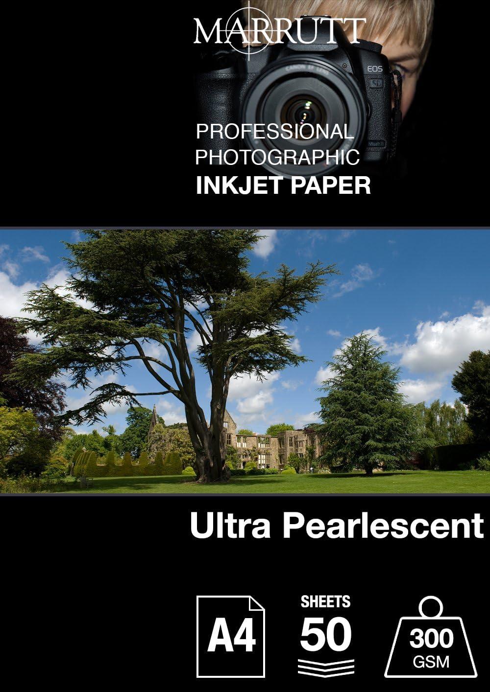 Marrutt 300 gsm Ultra Pearlescent Hi-White - A4, 50 hojas: Amazon.es: Oficina y papelería