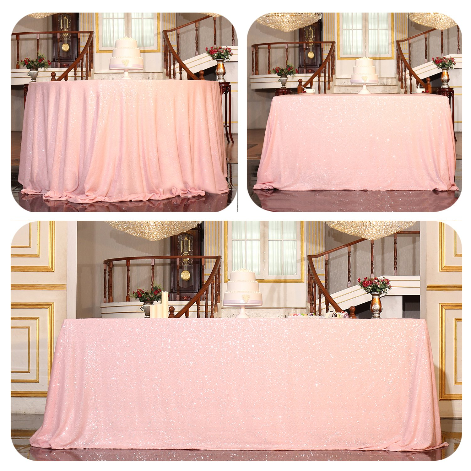 Pink 60 x102  PartyDelight Sequin Tablecloth Round 132  Tablecloth, pink gold