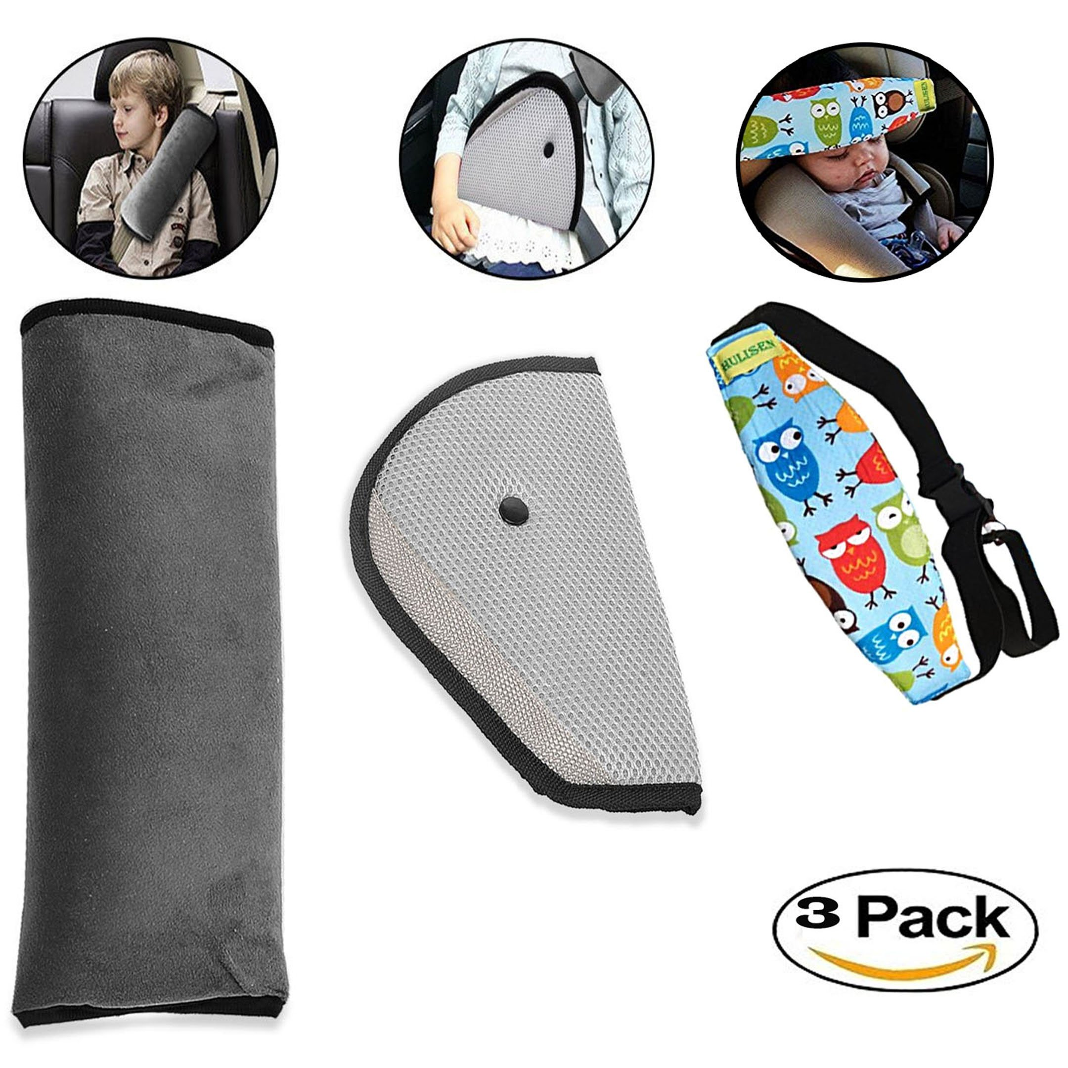 Smilify Car Seatbelt Pillow Cover for Kids - Kids Seatbelts Adjuster for Toddlers and for All Cars Provide + Infants and Baby Head Support