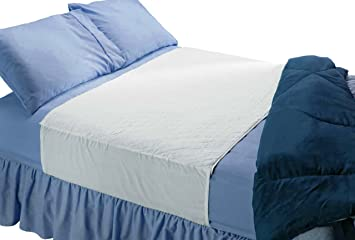 Saddle Style Absorbent Bed Pad With Tuck In Sides (34Wx52L)   Waterproof  And Washable