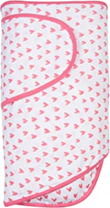 Miracle Blanket Swaddle Wrap for Newborn Infant Baby, Coral Hearts