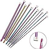 11 PCS Different Sizes Assorted Colors Crochet Hooks Tunisian Afghan Aluminum Knitting Needles
