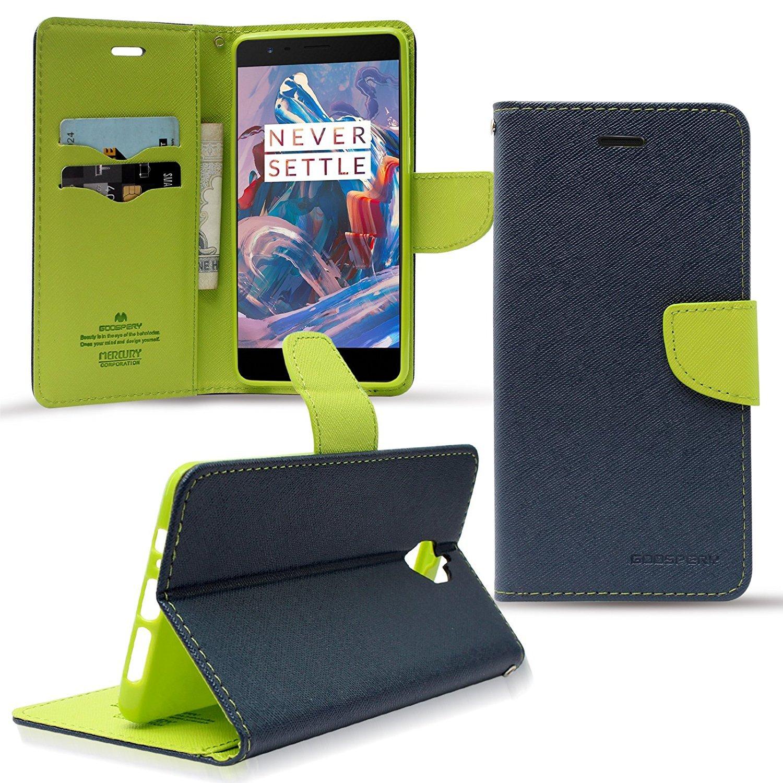 DMG One Plus 3T Case, Premium Fancy Diary Wallet Flip Cover Case for One  Plus 3T (Pebble Blue)