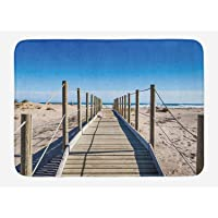 Beach Bath Mat, Empty Beach with Pathway Mediterranean Heaven Serene Quiet Nobody Summer Peace Theme, Plush Bathroom Decor Mat with Non Slip Backing, 23.6 L X 15.7 W Inches, Cream Blue