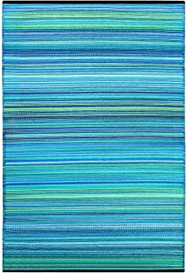 Green Decore Weaver Premium Grade Stain Proof Reversible Plastic Outdoor Rug ( 6x9 , Turquoise Blue )