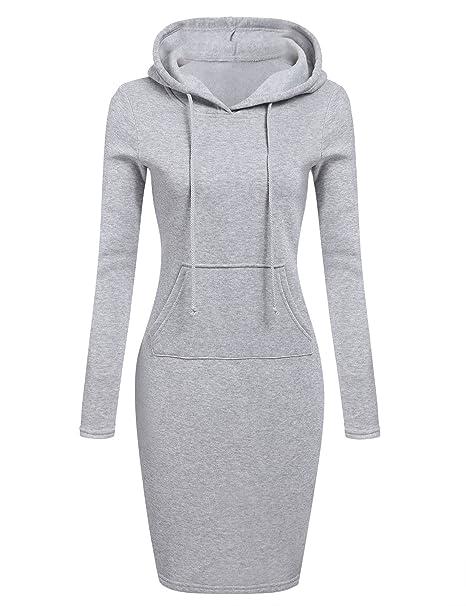 Sidiou Group Sudaderas con Capucha para Mujer Tops Jumper Coat Vestido suéter Maxi Casual Suelto Sudadera Pullover de Manga Larga: Amazon.es: Ropa y ...
