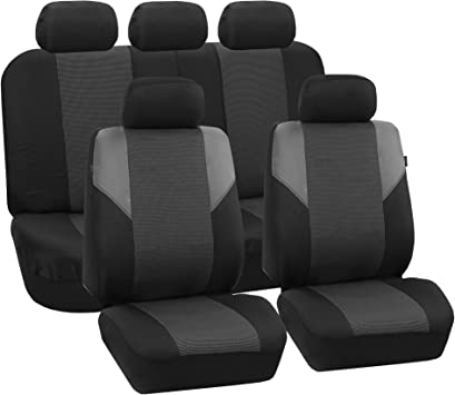 FH Group FB068GRAY115 Universal Car Seat Covers Premium 3D Airmesh Design Airbag and Rear Split Bench Compatible Gray