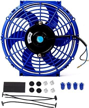 "2X9/"" 12V BLUE SLIM ELECTRIC RADIATOR COOLING FANS+MOUNTING KIT"