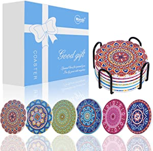 Wanski Exotic Coasters, 6 PCS Ceramic Coaster Set Absorbent Mandala Cup Pads Round Non-Slip Cup Mats with Natural Cork Base and Coaster Holder for Home Bar Kitchen Table Counter Protection