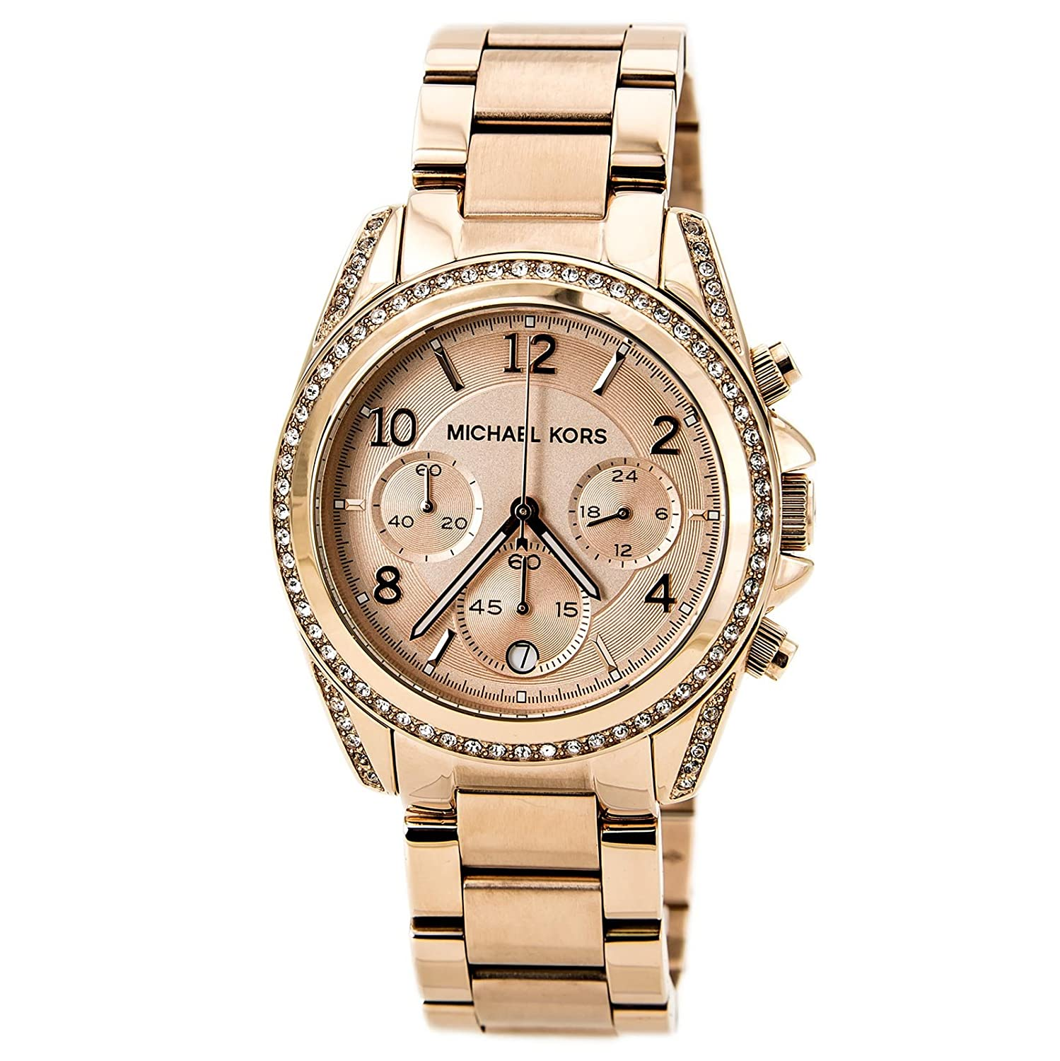 Michael Kors Rose Gold Tone Stainless Steel Runway Mk3278 Chronograph Dial Date Display Watches