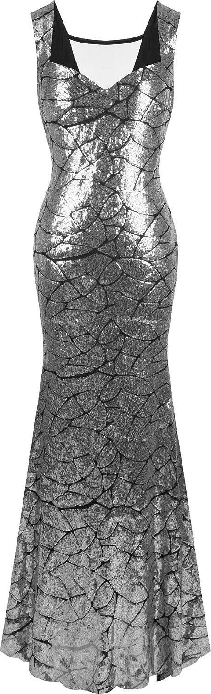 Angel-fashions Women's Queen Anne Neckline Sequins Mermaid Long Party Dress A-297