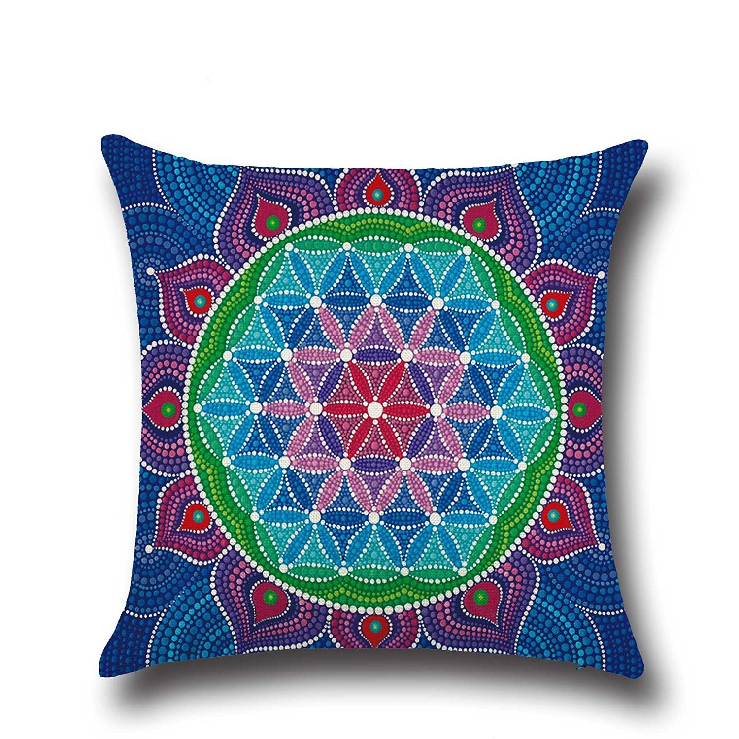 HOMEE Stylish and Fantastic Sunset Shanshui Flower-Pattern Cambodia and Thailand India Southeast Asia Style ,4545Cm,01 Pillow,02,4545cm