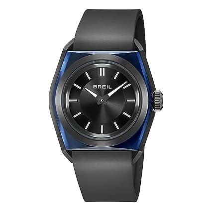 1d265298fb98 Reloj unisex. Movimiento de cuarzo analógico. Caja de policarbonato  translúcido azul. Correa de piel negra. Esfera negra. Resistente al agua  30m.