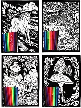 Velvet Flock Colouring Art Sets Pack Of 4 Pictures With 8 Felt Tip Pens Flocked Amazon Co Uk Toys Games