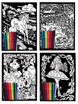 Velvet Flock Colouring Art Sets Pack of 4 Pictures with 8 ...
