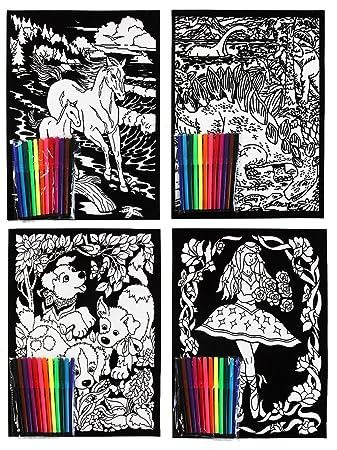 Velvet Flock Colouring Art Sets Pack of 4 Pictures With 12 Felt ...