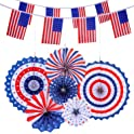 Voice Player 6 Hanging Paper Fans & 2 American Flag Banners