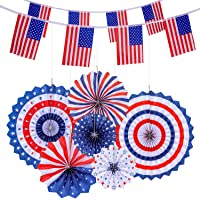 Voice Player 6 Hanging Paper Fans & 2 American Flag Banners (4th of July Patriotic Decorations)