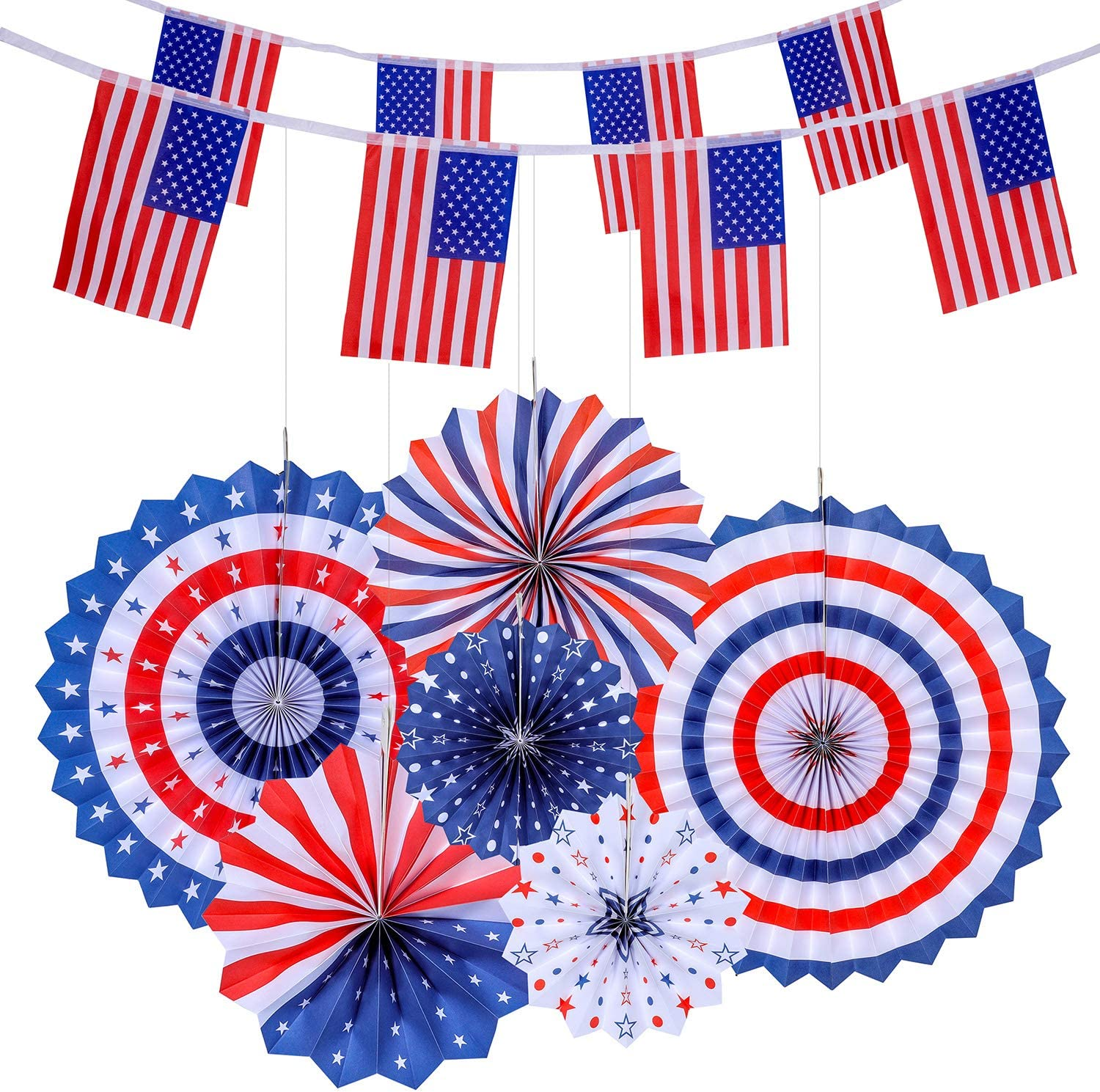 Kitdine 4th of July Patriotic Decorations - 6 Hanging Paper Fans and 2 American Flag Banners(40 USA Flags), Independence Day Red White Blue Decro, USA Theme Party Decor Supplies