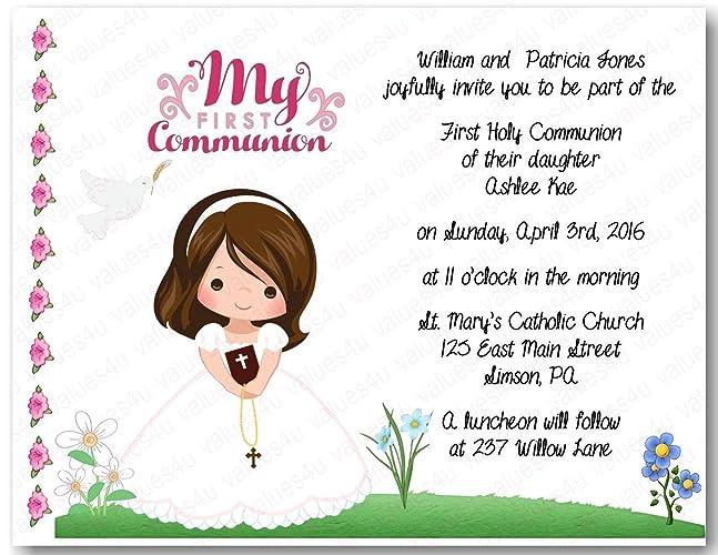 amazon com personalized communion invitations communion girl1008