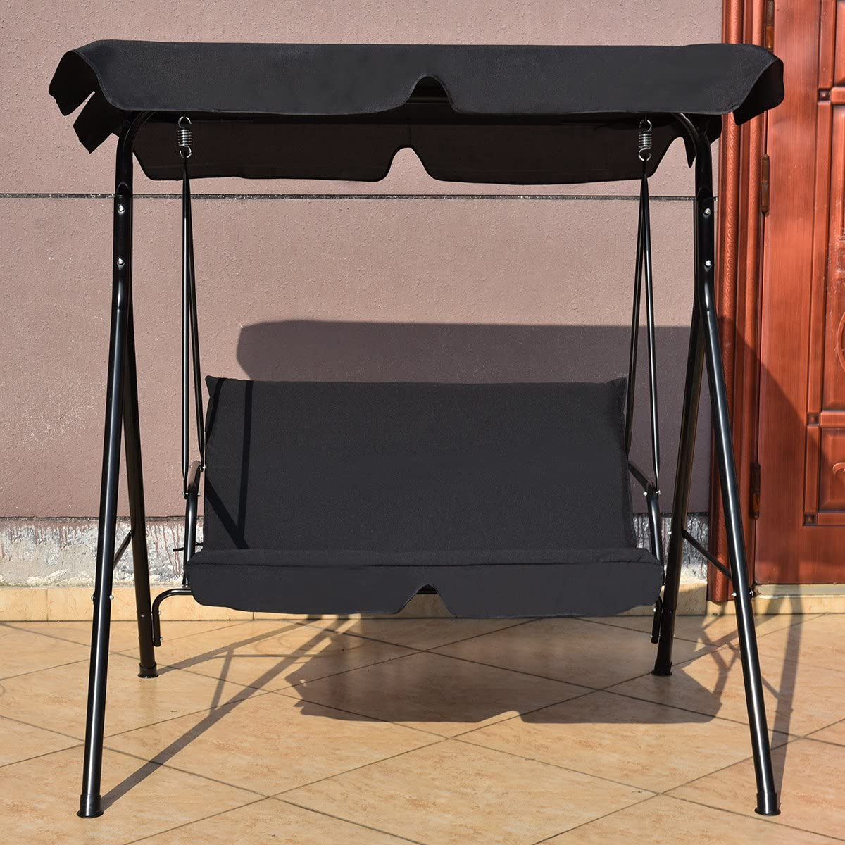 180KG Patio Metal Hammock Swinging Bench Lounger Seat Black Outdoor Indoor Canopy Powder Coated Steel Cushioned Seaters COSTWAY 2 Seaters Garden Swing Chair
