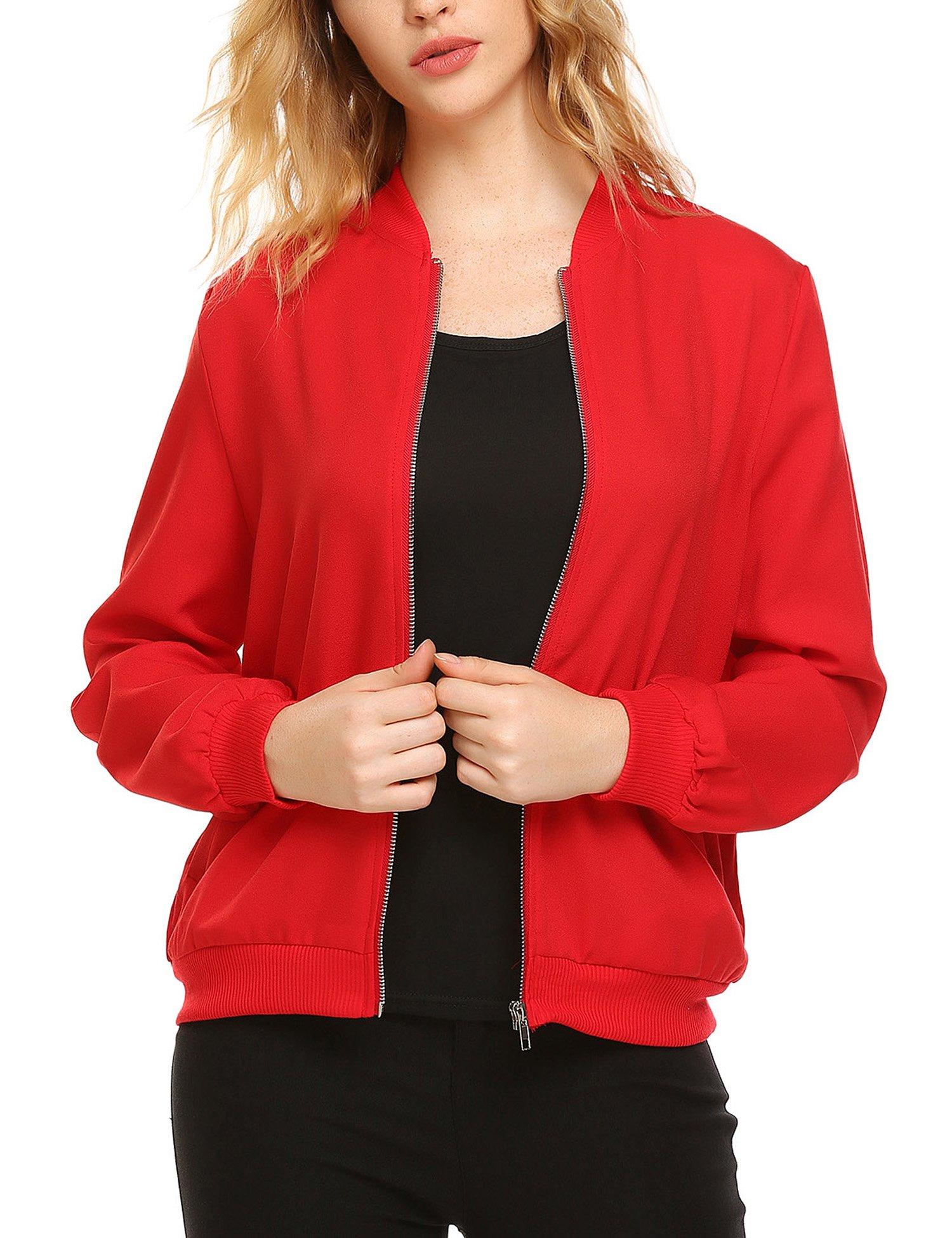 Zeagoo Women's Sporty Zip up Long Sleeve Coat Lightweight Bomber Jacket (Red, X-Large)