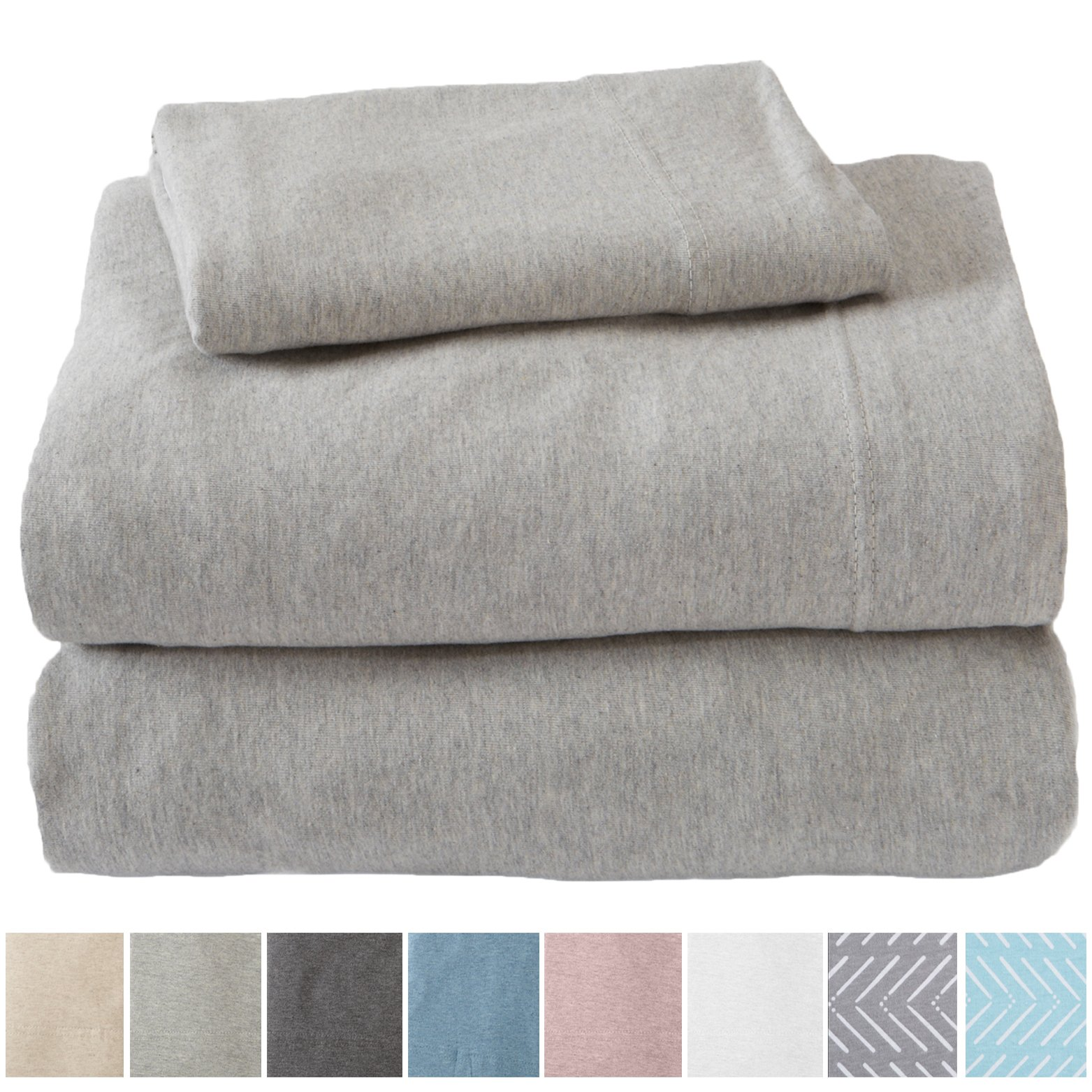Great Bay Home Extra Soft Heather Jersey Knit (T-Shirt) Cotton Sheet Set. Soft, Comfortable, Cozy All-Season Bed Sheets. Carmen Collection By Brand. (Twin, Light Grey)