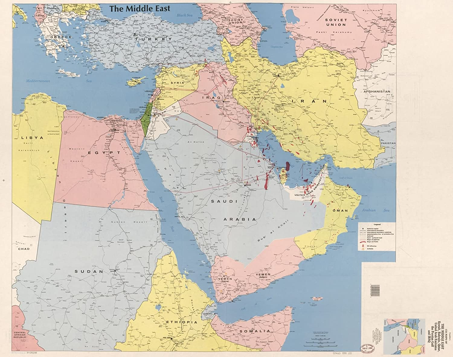 Many Sizes; Cia Map Of Kuwait 1991 Poster