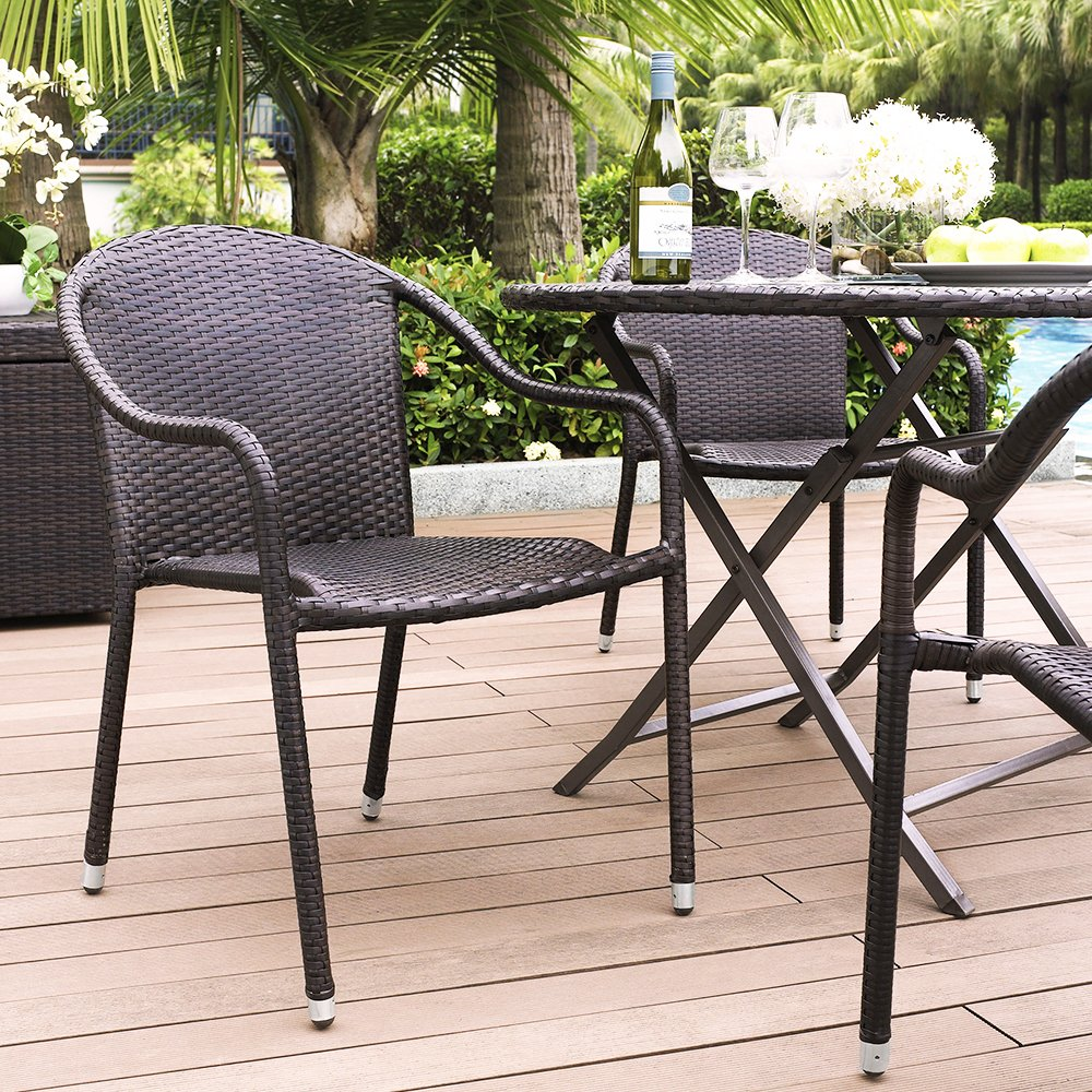 amazoncom crosley furniture palm harbor outdoor wicker stackable chairs brown set of 4 patio dining chairs garden u0026 outdoor