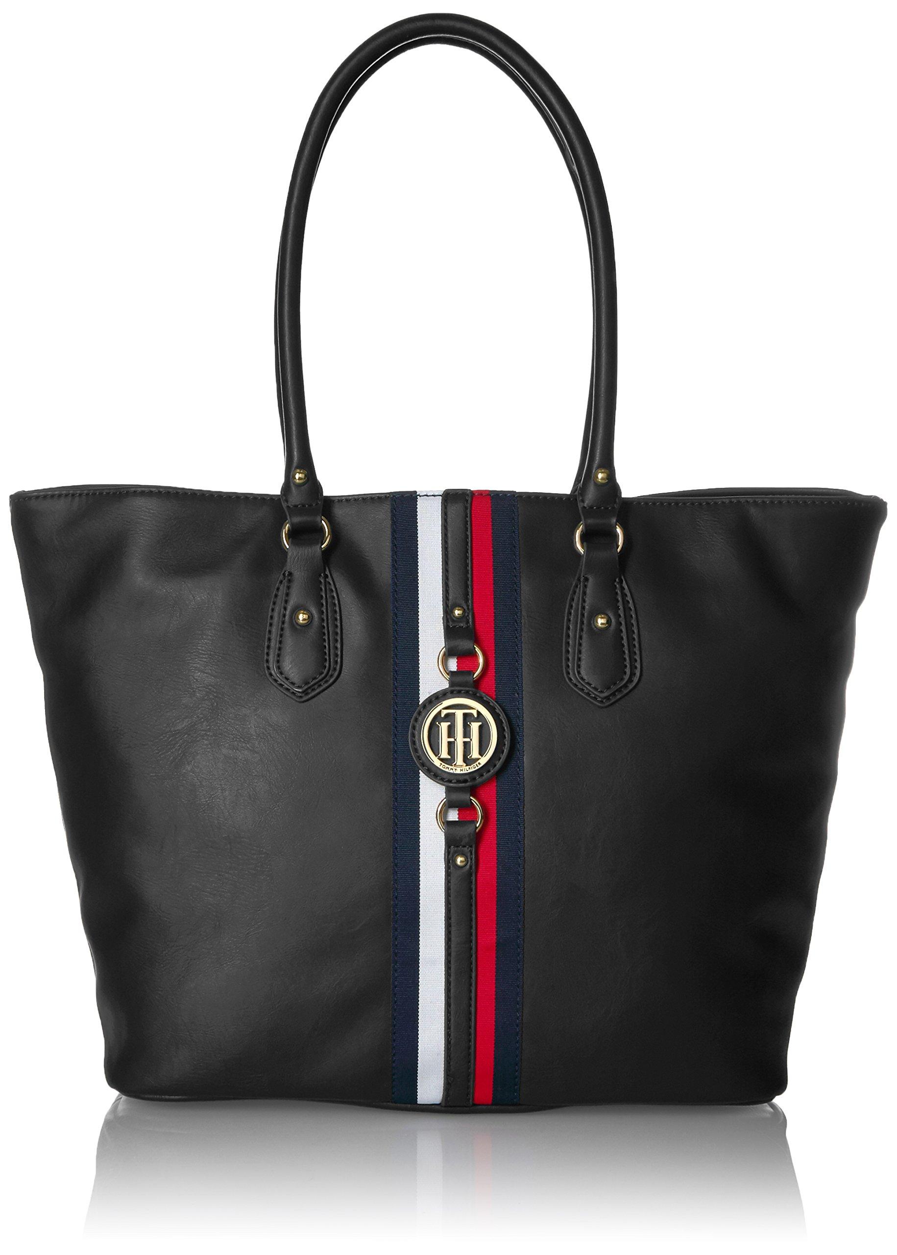 Tommy Hilfiger Tote Bag for Women Jaden, Black Polyvinyl Chloride