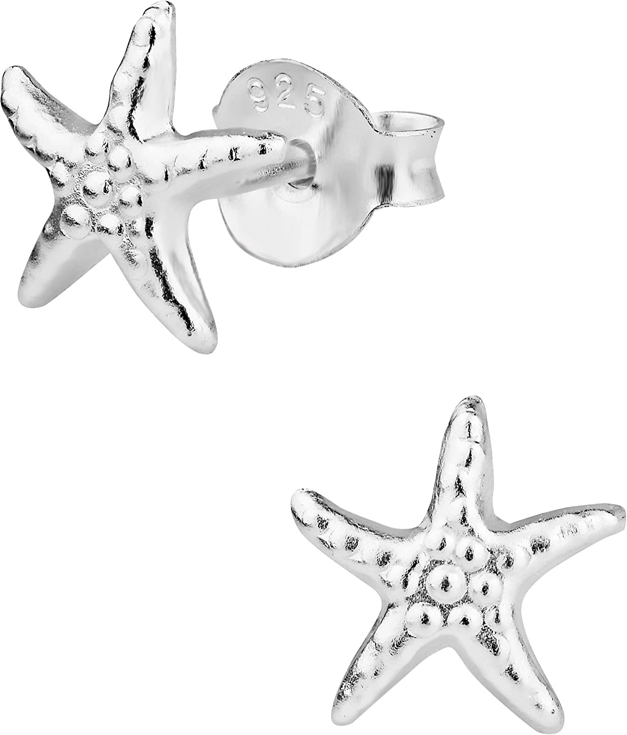 Starfish Cubic Zirconia Ear Studs 925 Sterling Silver With Handmade Prong Setting For Women and Girls